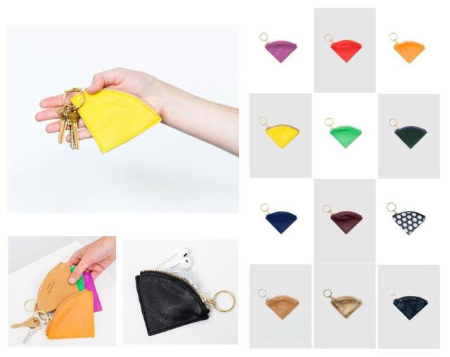 Baggu Leather Wedge Pouch w/ zipper & brass key ring (coin change purse)
