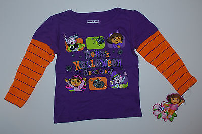 Dora~Nickelodeon~NEU~USA~Langarmshirt~92-98~Pullover~Glitter~Halloween~lila~