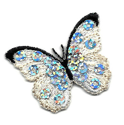 BUTTERFLY  - White & Black w/Silver Sequins/Iron On Embroidered Applique
