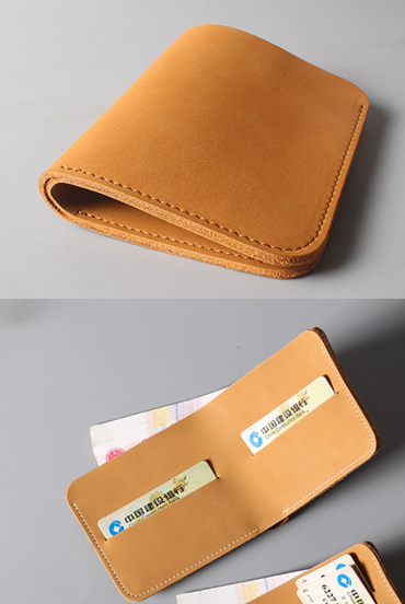 men women wallet purse cow Leather Card Cases ID Holder Bifold bag yellow Z557-3