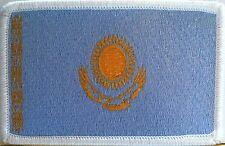 Kazakhstan Flag Patch With VELCRO® Brand Fastener Military White Border