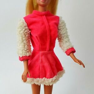 Vintage-Barbie-1793-SKATE-MATES-Dress-Only-Pink-Flocked-w-Curly-Fur-Trim-GC
