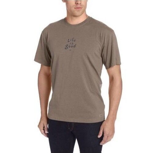 NWT~Life Is Good~Men's~LIG Stacked Crusher Tee~S/S~100%Cotton~Oak Brown~Size M