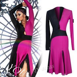 Womens Floral Slit Latin Dance Dresses Rumba Samba Cha Cha Paso Double Ballroom