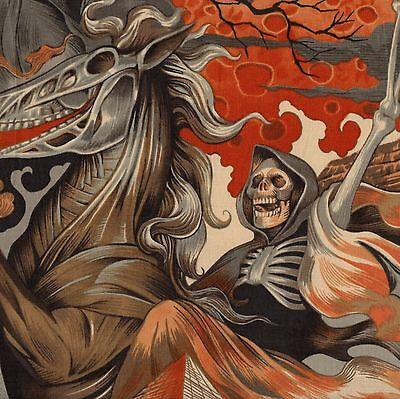 ALEXANDER HENRY Haunted House HEART OF DARKNESS Fabric Half Yard APRICOT Skull