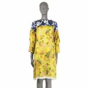 d9d7f2a254 54150 auth DRIES VAN NOTEN yellow silk 3 4 Sleeve FLORAL Dress 36 XS ...