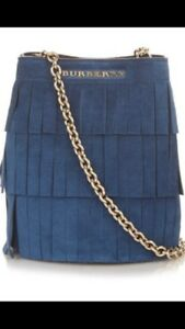 4e2aac265dbb Image is loading New-Burberry-Baby-Bucket-Fringe-Suede-CrossBody-Chain-