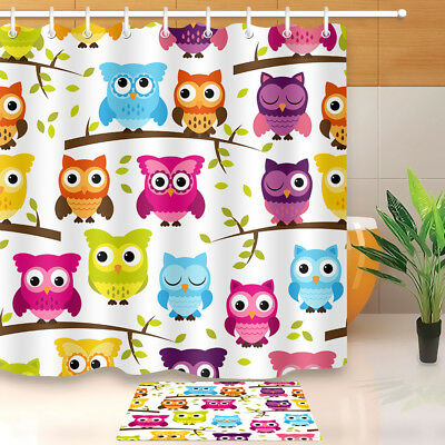 "71X71/"" Cartoon Flowers Owls Shower Curtain Liner Waterproof Fabric Bath Decor"
