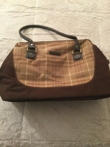 Details About Ed Bauer Plaid Check Brown Canvas Leather Duffel Travel Bag Luggage