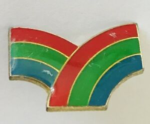 Twin-Rainbows-Lapel-Pin-Badge-Brooch-Vintage-C14
