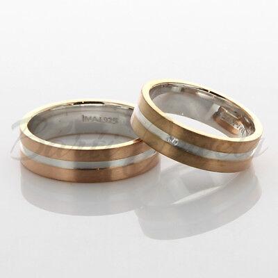 1 Paar Partnerringe Freundschaftsringe 925 Silber Rosegold Gold Pl Massiv Imj-7