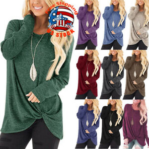 Women-Solid-O-neck-Long-Sleeve-Pullover-Loose-T-Shirt-Autumn-Casual-Blouse-Tops