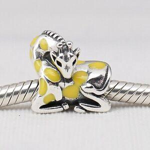 100/% Genuine 925 Sterling Silver Yellow Enamel Giraffe Animal Pendant Charms Fit Charm Bracelets /& Bangles Fine Jewelry Making