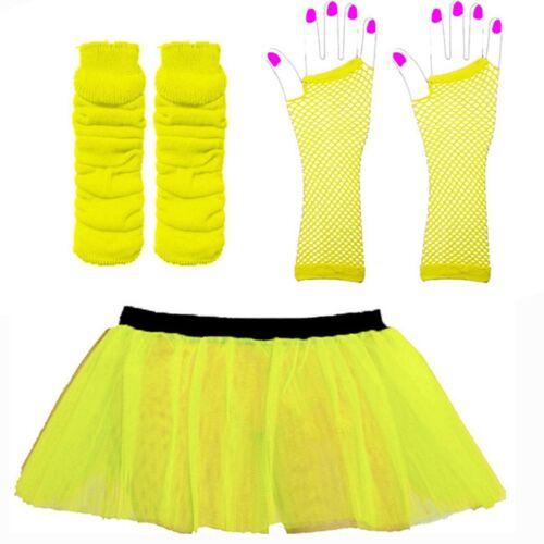 NEON TUTU SKIRT Fishnet basiques Hen Night 1980/'s legwarmers 3 layer Ladies Skirt