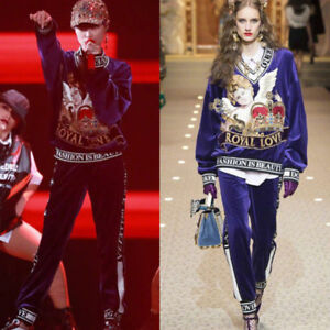 Designer 2 stuks paars geïnspireerd Top Runway Fashion Jumper Velvet Womens XNnw80OkP