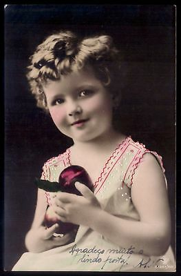 Lovely Young Girl in Charming Hat wih SILK FLOWERS and BOWS Vintage FrENCH PiNK SePIA Tint ReAL PhOTO PoSTCARD