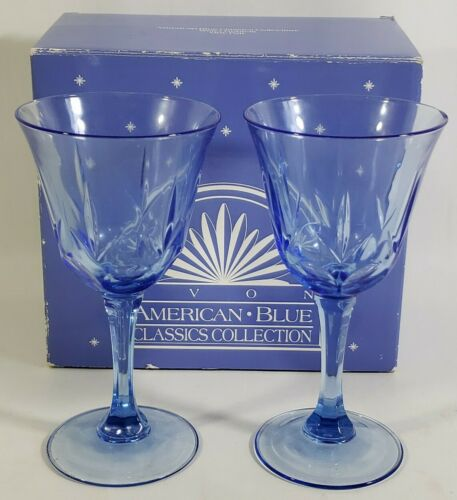 """Details about  /Set of 2 Avon American Blue Classics by Fostoria 7 3//8/"""" Water Wine Goblets Glass"""