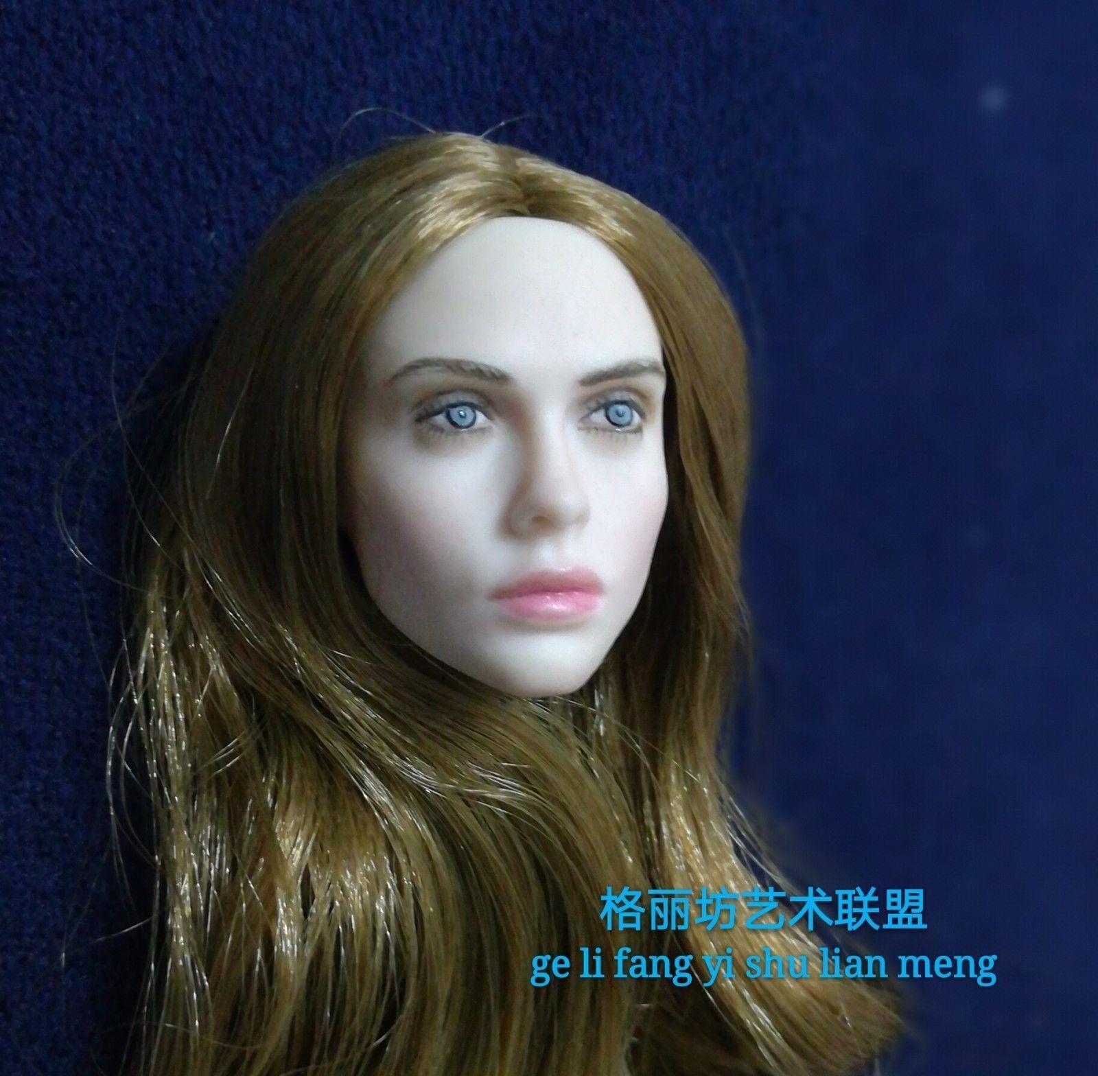 1 6 Scale Villa Coffee Hair Head Model For 12  Female Pale Figure Body