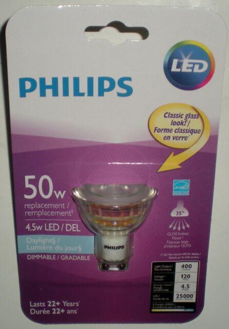 Led Daylight Bulb: Philips Gu10 Indoor Flood 5000k LED Lamp Bulb 4.5w 50w