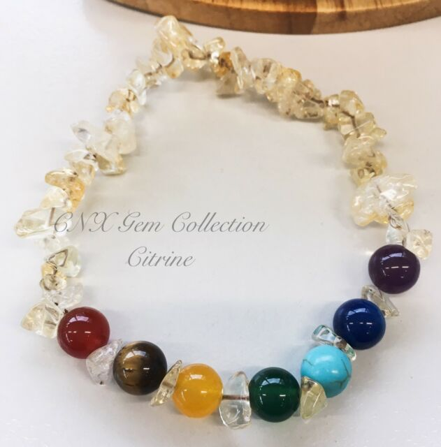 Gemstone Crystal Citrine Chipstone Chakra Beads Stretchy Bracelet Design B