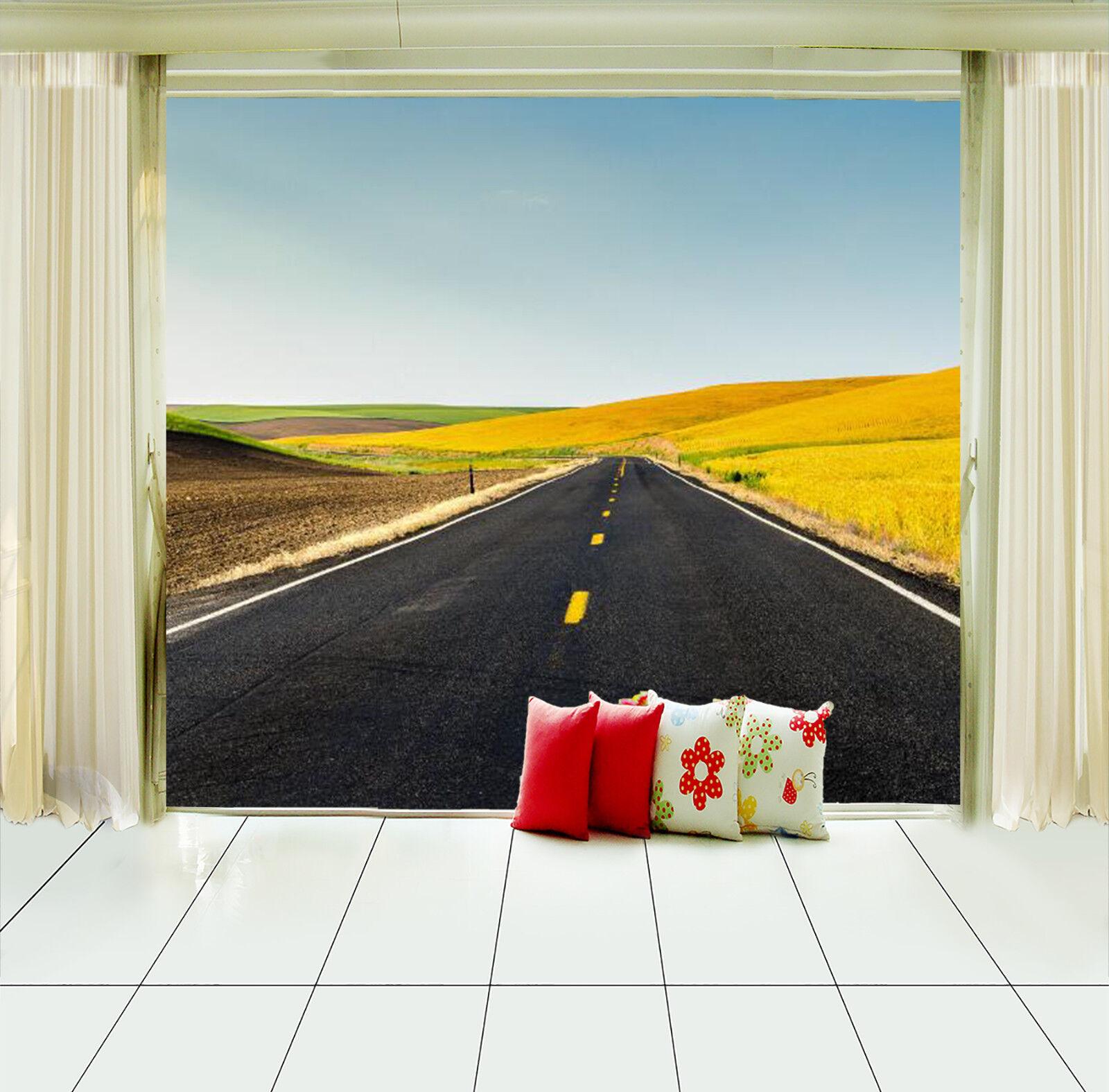 3D Wiesen Straße Landschaft 804 Tapete Wandgemälde Tapeten Bild Familie DE Lemon