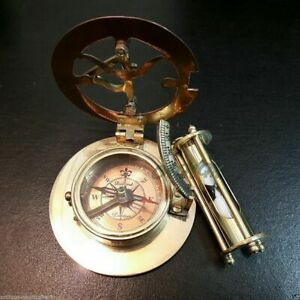 Brass-Sundial-Compass-with-Nautical-Sand-Timer-Antique-Vintage-Gift