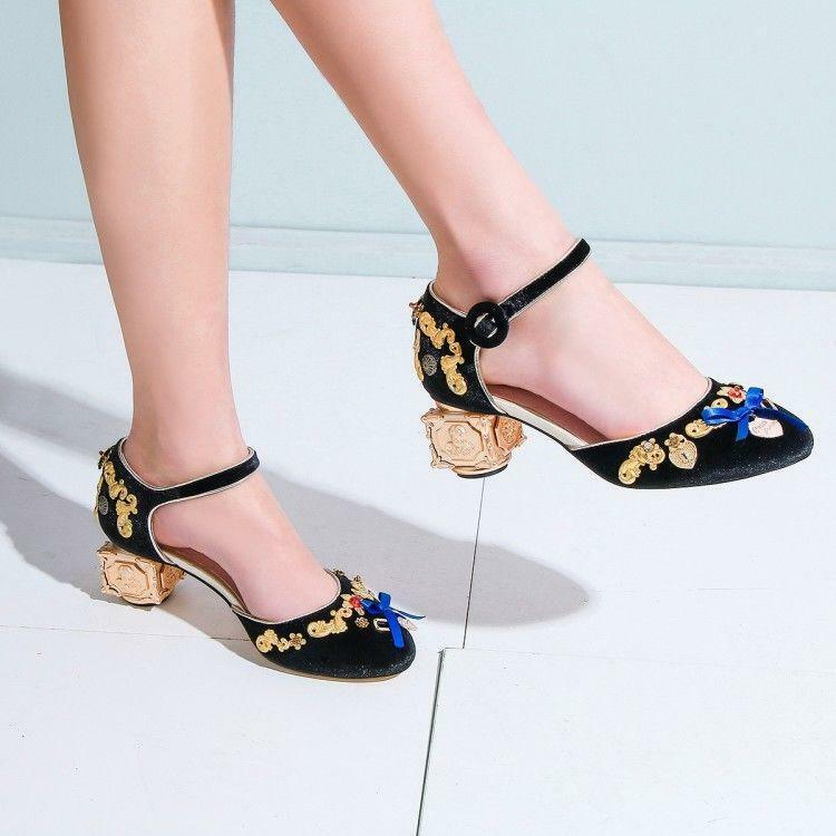 Chic Womens Ladies Ankle Strap Block Heels Velvet Mary Janes Dress 3Colors Shoes