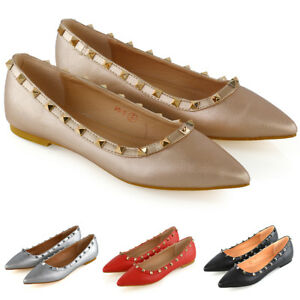 Womens-Pointed-Flats-Ladies-Studded-Slip-On-Ballet-Pumps-Casual-Shoes-Size-3-9
