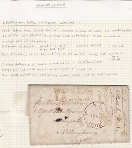 1808-WOOLWICH-1d-PY-PAID-SOLDIERS-CONCESSION-LETTER-Wm-HUNT-gt-MARY-MOXIM-NOTTm