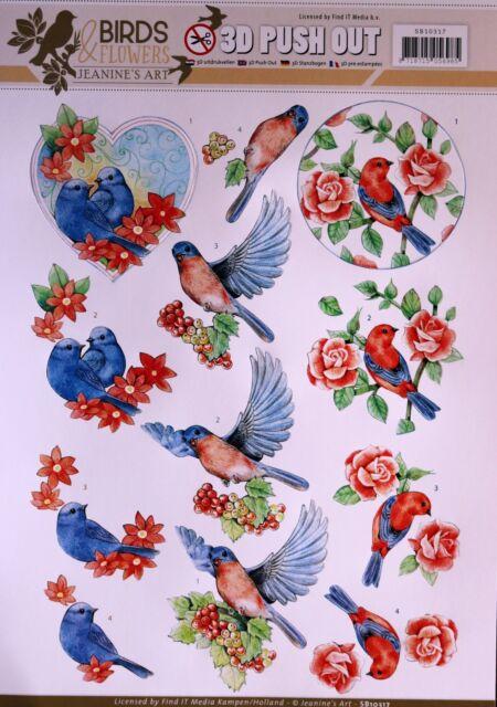 A4 DIE CUT 3D PAPER TOLE DECOUPAGE Push Out Sheet Birds & Flowers SB10317