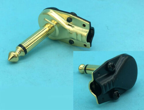 """Gold plating 1//4/"""" TS Right Angle Mono Plug Guitar Audio Connector 6.35mm Jack"""