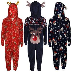 ebe38a540ab0 Kids Girls Boys Reindeer Rudolph Santa Claus Fluffy Xmas A2Z Onesie ...