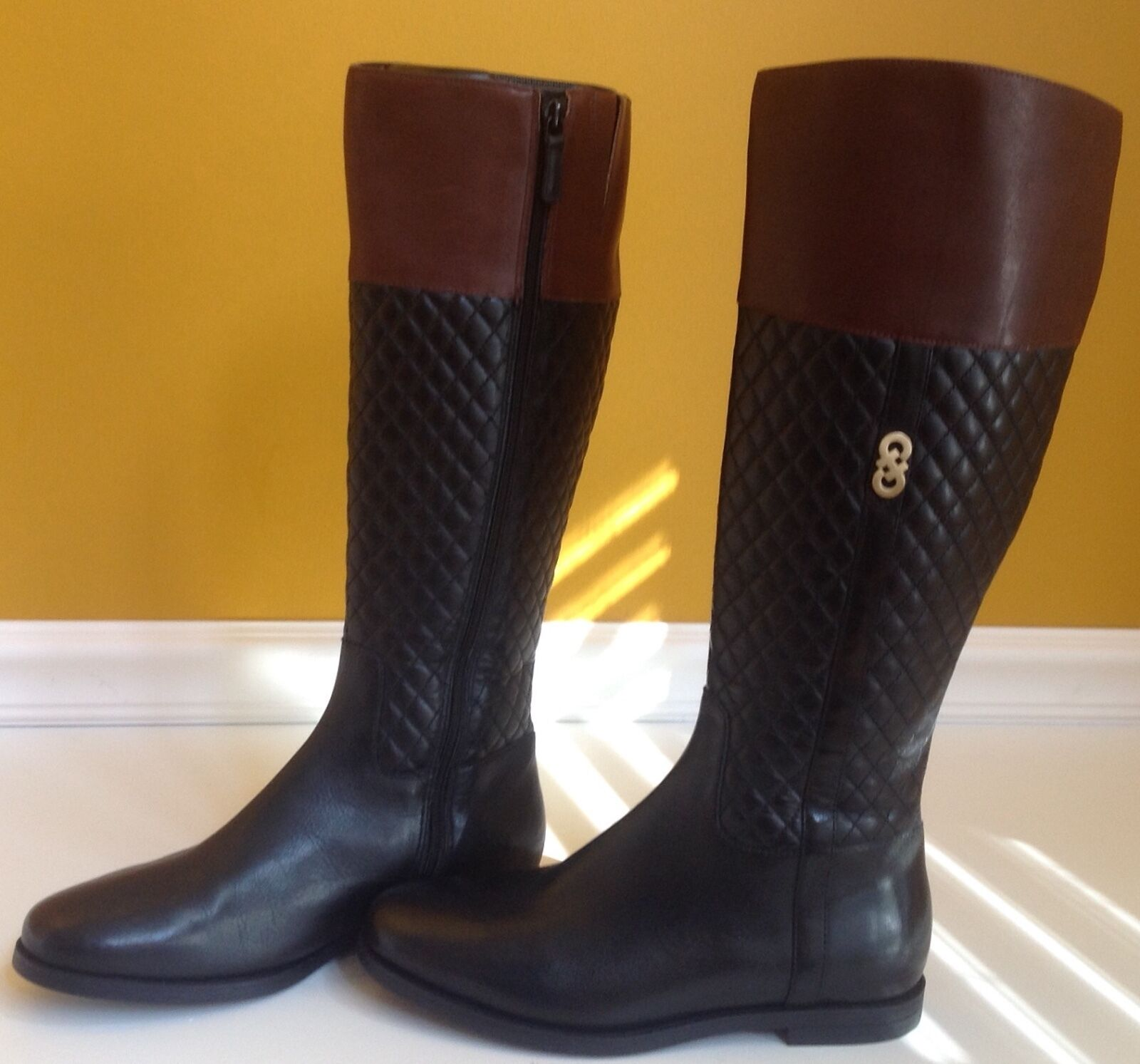 NEW COLE HAAN Brennan Brown Black quilted Flat Riding Boots Size 6.5B