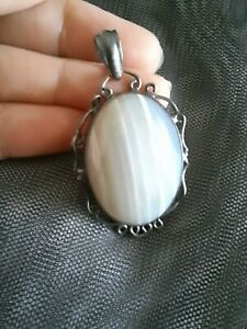 925 Silver Banded White Agate Oval Cabochon Pendant