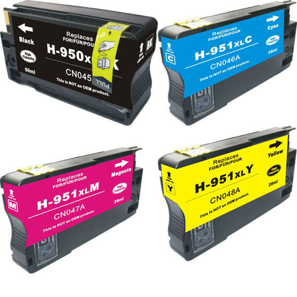 4PK 950XL 951XL Ink Cartridges  For HP OfficeJet Pro 8100 8600 With Chip