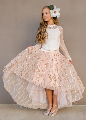 ❤free ship❤  NWT Joyfolie  Natasha Skirt in Rose Gold Girls sz 8