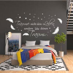 Wandtattoo AA400 Schlafzimmer Wand Aufkleber Träume nicht dein Leben ...