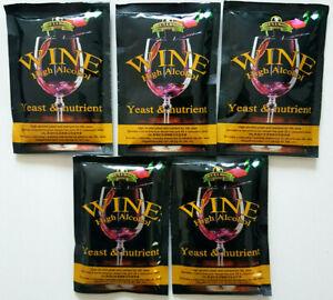 Feinschmecker Spirituosen 5x Wine Hefe High Alcohol Yeast & Nutrient 25l Bulldog Brew Profitieren Sie Klein