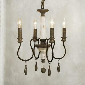 Vintage weathered look mini candle chandelier distressed white image is loading vintage weathered look mini candle chandelier distressed white aloadofball Gallery