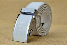 """HUGO BOSS LEATHER BELT - AUTOMATIC BUCKLE WHITE COLOUR (Extra Lagre 42"""" Inch)"""