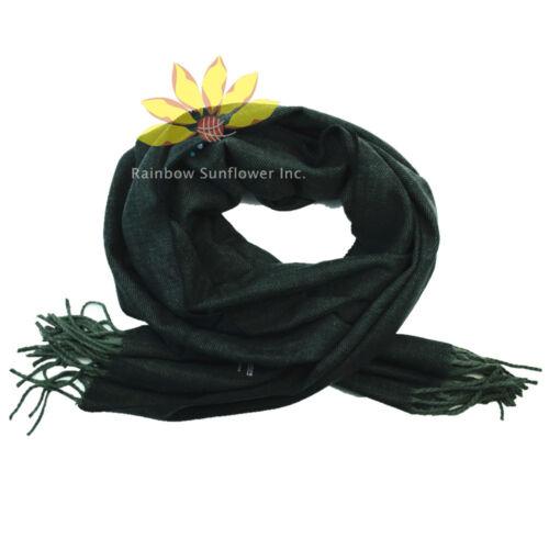 Men Women unisex 100/%CASHMERE Scarf Plain thick stripe Wool Soft SCOTLAND green