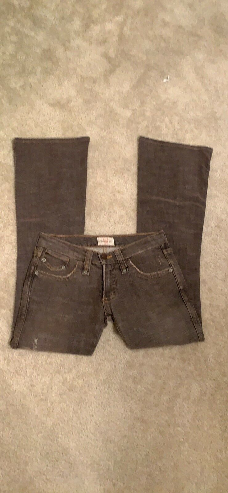 Sexy Frankie B. Low rise Brown Distressed Bootcut Jeans Sz 2