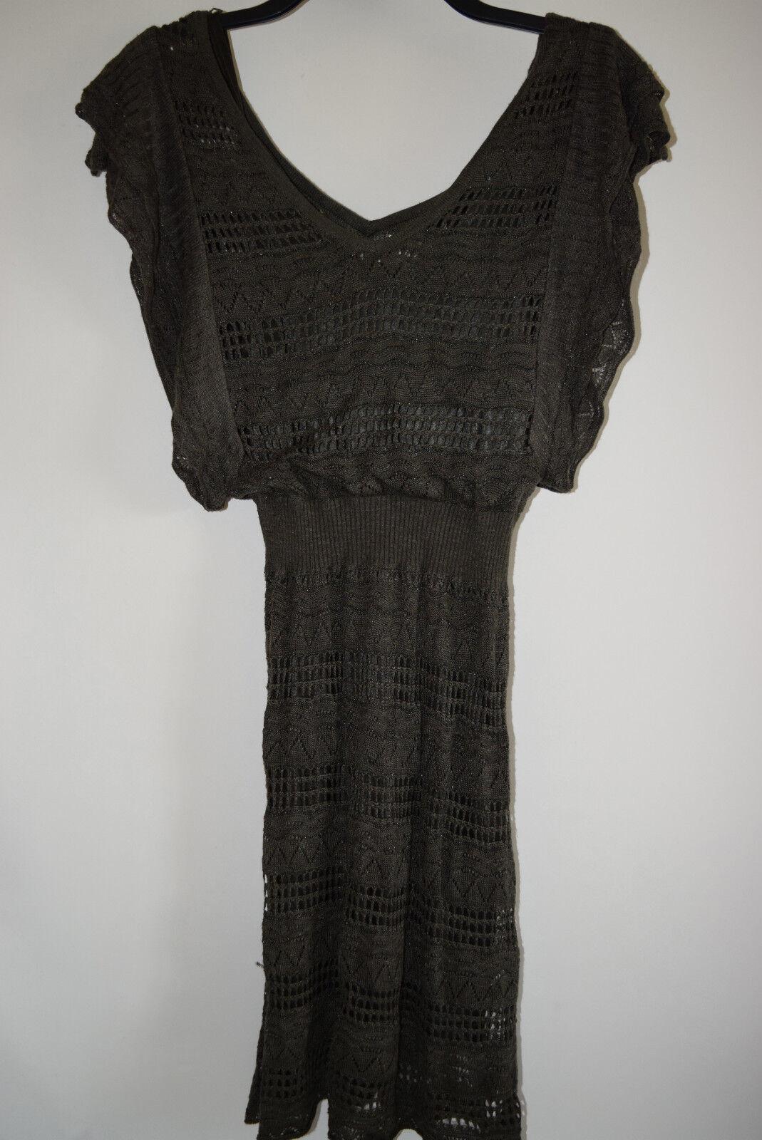 NWOT GUESS MARCIANO Womens Knit Sweater Dress Tunic Ruffle Green Metallic XS 2