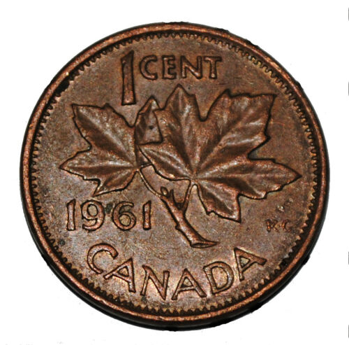 Canada 1961 1 Cent Copper One Canadian Penny Coin