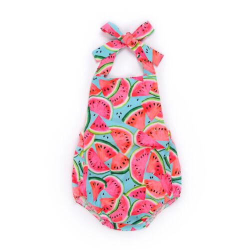 2018 nouveau-né bébé fille sans manches Pastèque Imprimé Bracelet Tissu barboteuses Jumpsuit Outfit