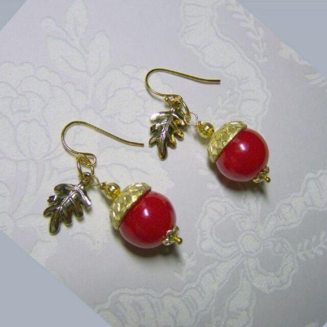 Fall Themed Earrings Acorn Dangle Hoop Earrings