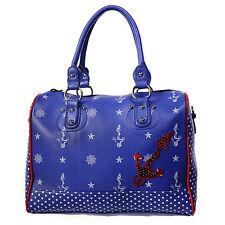 Para Mujeres Damas Azul Marinero Náutico Ancla Lunares Rockabilly Bolso Bolso de Mano Reino Unido