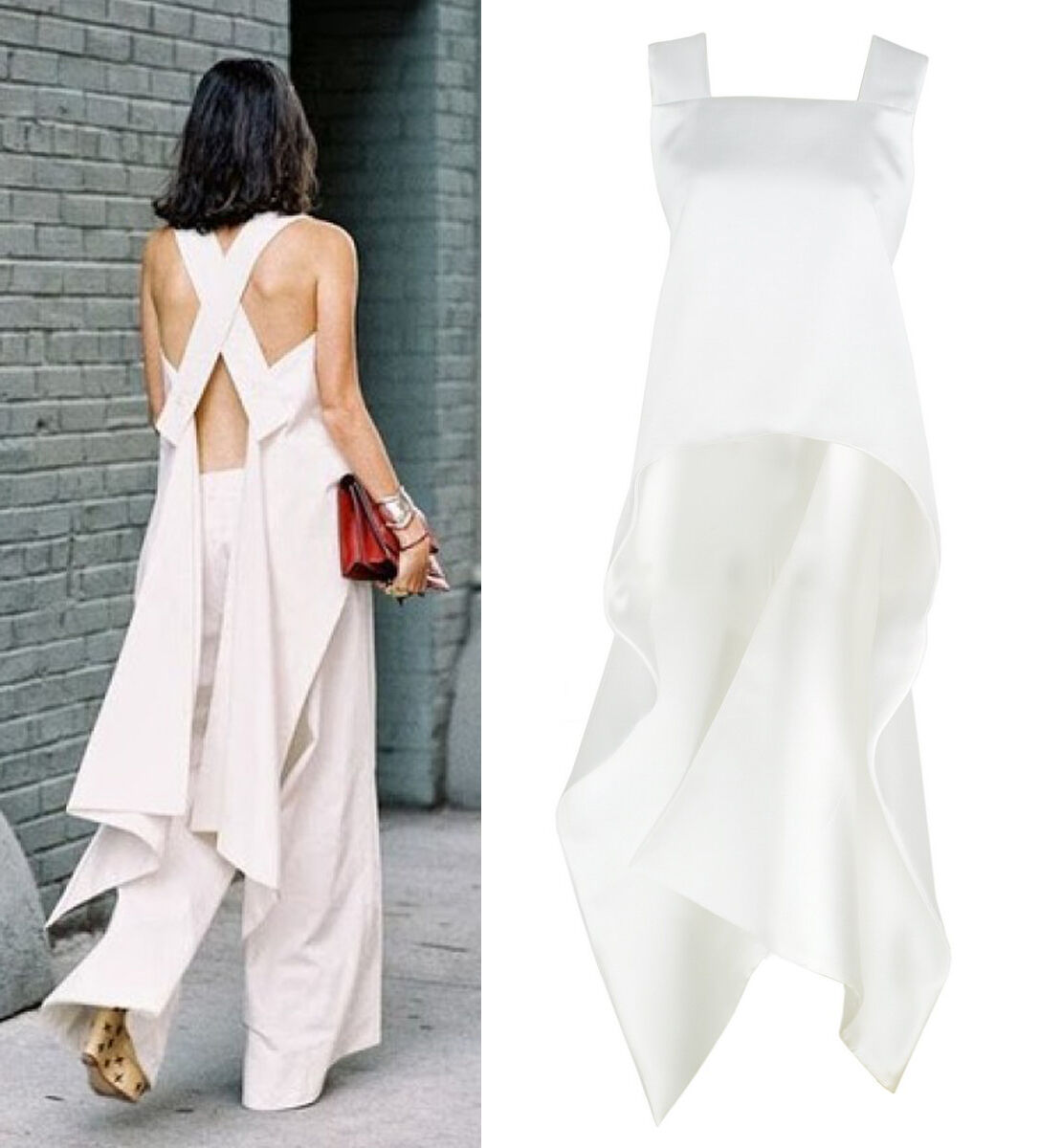 Weiß Strap Cross Over Open Back Waterfall Swing Top Satin Taffeta Street Sexy