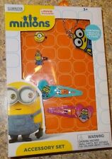 Minions Movie Accessory Kit Necklace Snap Clips 2 Rings New
