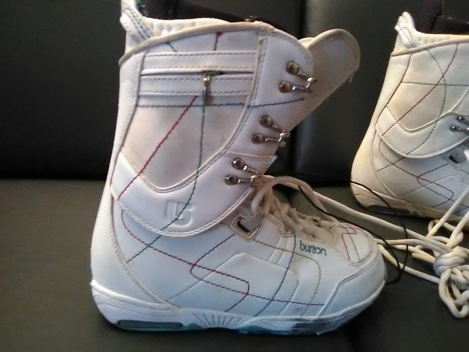 BURTON WOMEN'S SAPPHIRE SNOWBOARD SKI BOOTS WHITE US SIZE 7.5 Nice